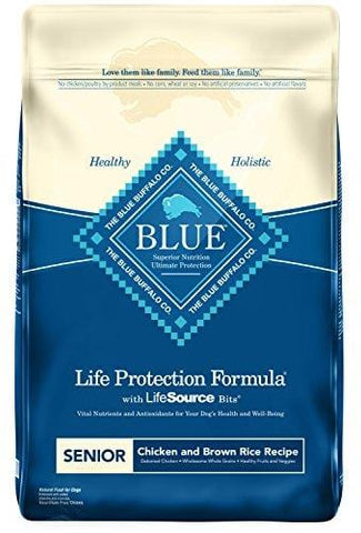 Blue Buffalo Life Protection Formula Senior Dog Food - Natural Dry Dog Food for Senior Dogs - Chicken and Brown Rice - 30 lb. Bag