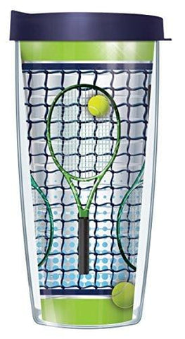 Tennis Racquets Clear 22 Oz Traveler Tumbler Mug with Lid