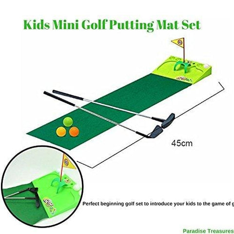 Paradise Treasures Kids Golf Set - Putting Mat Indoor and Outdoor Mini Golf for Children-2 Metal Golf Clubs,4xGolf Balls,Golf Flag and Green