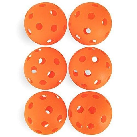 Crown Sporting Goods 6-Pack of 12-inch Plastic Softballs - Perforated Practice Balls for Sports Training & Wiffle Ball (Orange)