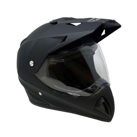 MMG 27V Motocross Full Face Helmet, Dual Sport Off Road Motorcycle Dirt Bike ATV, Includes Flip Up Visor, Medium, Matte Black