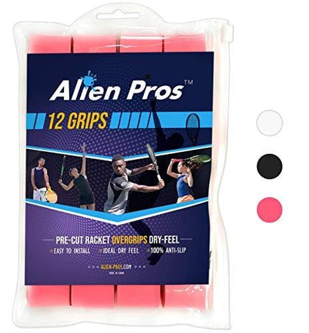 Alien Pros Tennis Grip Tape for Rackets – (12 Grips) Precut and Dry Feel Overgrip – Replacement for Old Overwraps – Wrap Your Racquet for High Performance (12 Grips, Pink) [product _type] Alien Pros - Ultra Pickleball - The Pickleball Paddle MegaStore