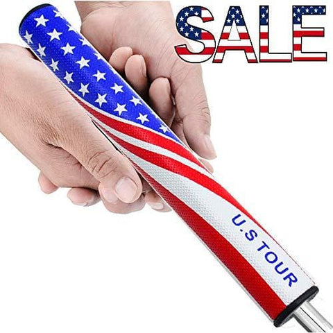 Kofull Golf Putter Grips PU Comfortable Standard Slim 2.0/Midsize 3.0 for Choice American Flag Putter Grip Non-Slip Lightweight Golf Grip (Slim 2.0)