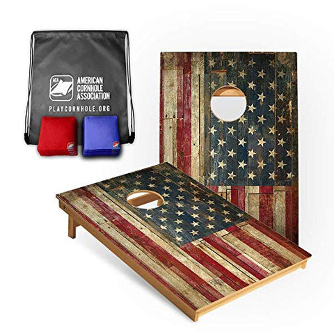 American Cornhole Association Official Cornhole Boards & Bags Set American Flag Design - Heavy Duty Wood Construction - Tailgate Size (3ft x 2ft) Bean Bag Toss