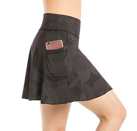 EAST HONG Women's Golf Skort Tennis Running Workout Skort (M, Star Point Black)