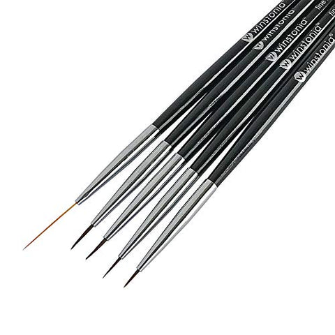Winstonia 5 pcs Nail Art Brushes Set Liner Striping Brush for Strokes, Details Painting, Blending, Elongated Lines - FINE LINE