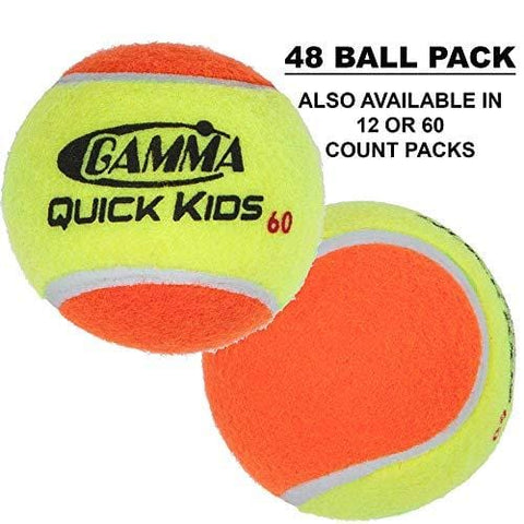 Gamma Sports Kids Training (Transition) Balls, Yellow/Orange, Quick Kids 60, Bucket of 48