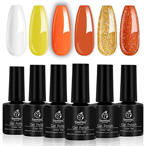 Beetles Pumkin Coral Gel Nail Polish Set, 6 Pcs White Glitter Gel Polish Kit Color Changing Orange Nail Polish Gel Kit Art Design Gift Box, Soak Off UV LED Gel Nail Lamp Cured, 7.3ml Each Bottle