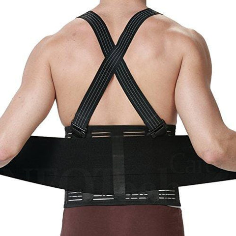 Back Brace with Suspenders for Men - Adjustable - Removable Shoulder Straps - Lumbar Support Belt - Lower Back Pain, Work, Lifting, Exercise, Gym - Neotech Care Brand - Black - Size L