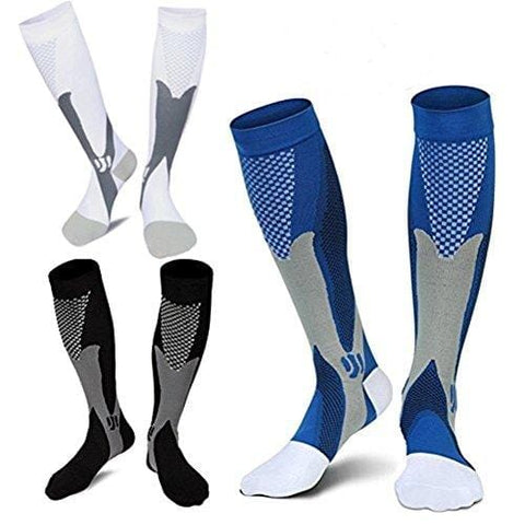 3 Pairs Medical&Althetic Compression Socks for Men, 20-30 mmHg Nursing Performance Socks for Edema, Diabetic, Varicose Veins,Shin Splints,Running Marathon (Blue+Black+White) [product _type] Daily_Use - Ultra Pickleball - The Pickleball Paddle MegaStore