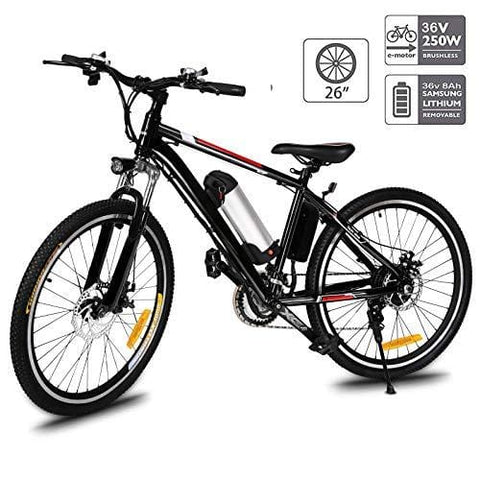 Fast88 Electric Mountain Bike with 250W Removable Lithium-Ion Battery (36V, 8AH), E-Bike with Battery Charger