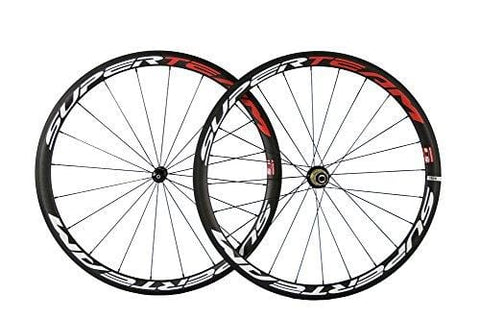 Superteam Carbon Fiber Wheelset 700C Wheels 38mm Clincher Matte Finish For Shimano 9/10/11 Speed