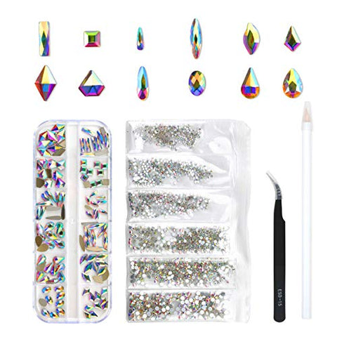 120 Pcs Multi Shapes Glass Crystal AB Rhinestones For Nail Art Craft, Mix 12 Style FlatBack Crystals 3D Decorations Flat Back Stones Gems Set (120 pcs Crystals+1728 pcs rhinestones)