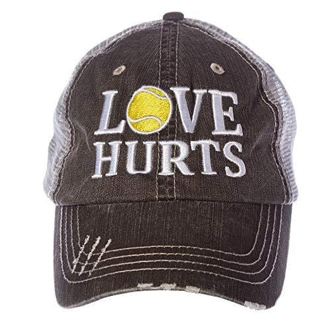 Tennis Addiction Love Hurts Trucker Distressed Hat Cap Captain's Tennis Gift