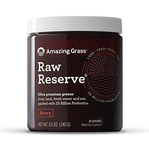 Amazing Grass, Raw Reserve Green Superfood Organic Powder with Wheat Grass and Greens, Flavor: Berry, 30 Servings