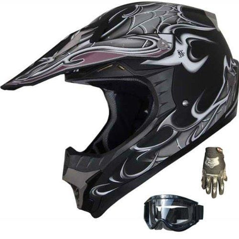 Motocross Off-Rd ATV Dirtbike Motorcycle Helmet Spider Web 129 Matt Black+gloves+goggles (L)