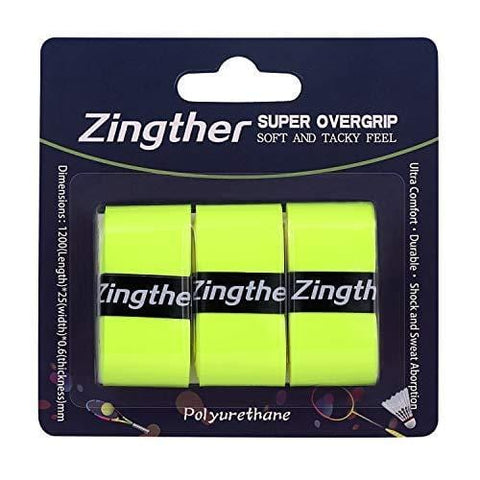 Zingther Professional Super Tacky Grip Overgrip Tape for Tennis Racket, Squash/Badminton/Shuttle Racket, Racquetball Racquet and Pickleball Paddle Handle (Neon Lime Yellow, 3 Grips)