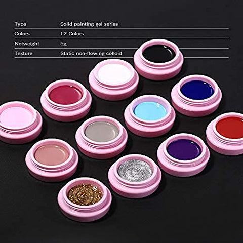 12 Colors Gel Paint for Nail Art Kit Sculpture Gel Nail Polish DIY Design Lacquer Tools 5g (04)