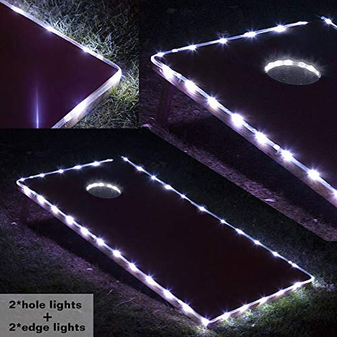 Blinngo Cornhole Ring Lights and Cornhole Edge Lights, LED Cornhole Lights fit for Standard Cornhole Boards and Cornhole Bags(White)