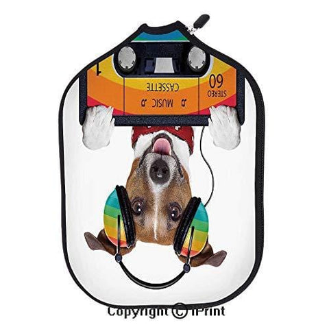 "Background 3D Printed Decorative Neoprene Pickleball Paddle Racket Cover,Dog Listening to Music from an Old Cassette of the 80s Colorful Headphones Decorative(size:8.23"" x 11.4"")Multicolor,High resolu"