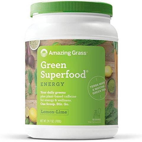 Amazing Grass Energy Green Superfood Organic Powder, Natural Caffeine with Wheat Grass, 7 Greens, Yerba Mate and Matcha Green Tea, Flavor: Lemon Lime, 100 Servings