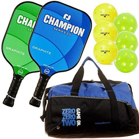 Pickleball, Inc. Champion Graphite Paddle 2-Paddle Bundle (2 Champion Graphite Paddles, 1 Pickleball Duffle, 3 Indoor Jugs pickleballs, 3 Outdoor Dura Pickleballs) (Blue/Green) || Great Gift idea [product _type] Pickle-Ball - Ultra Pickleball - The Pickleball Paddle MegaStore