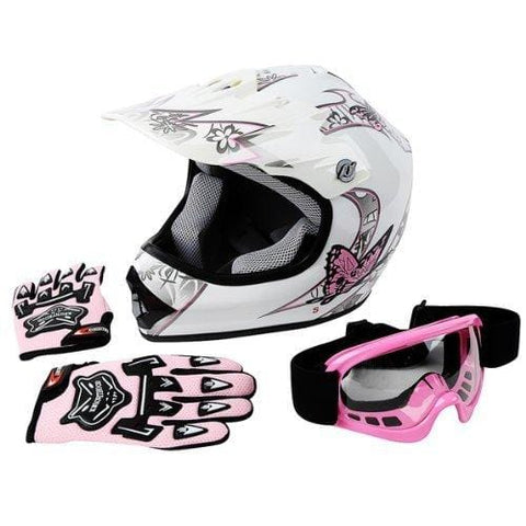 TCMT DOT Certified Youth Pink Butterfly Dirt Bike ATV Offroad Street Motorcycle Motocross Helmet Goggles Gloves (L)