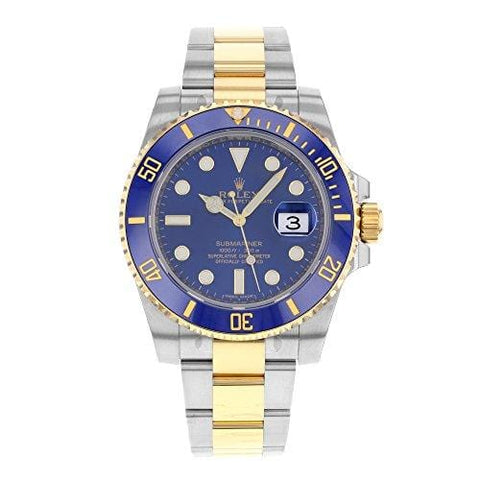 Rolex Submariner Stainless Steel Yellow Gold Watch Blue Ceramic Watch 116613