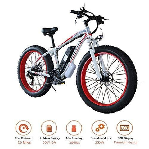 "KEANTY 26"" Fat Tire Electric Bike, Shimano 21 Speed Beach Snow Mountain Bicycle with Removable 36V/10AH Large Capacity Lithium Battery and 350W Powerful Brushless Motor (US Stock)"
