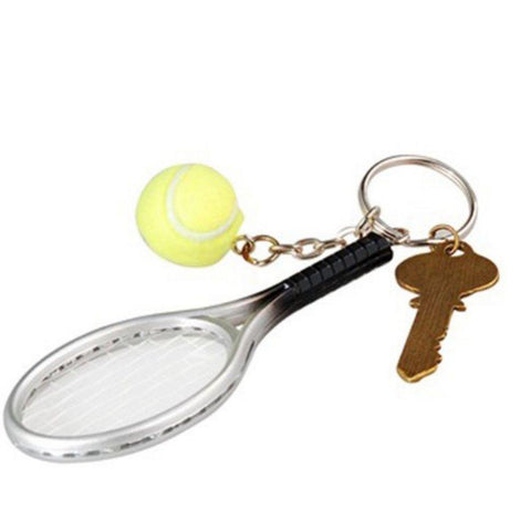 Tennis Racket Key Chain (Silver & Green) by Wise Will