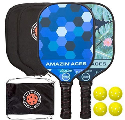 Amazin' Aces Signature Pickleball Paddle | USAPA Approved | Graphite Face & Polymer Core | Premium Grip | Paddles Available as Single or Set | Set Includes Balls & Bag | Includes Racket Case & eBook [product _type] Amazin' Aces - Ultra Pickleball - The Pickleball Paddle MegaStore