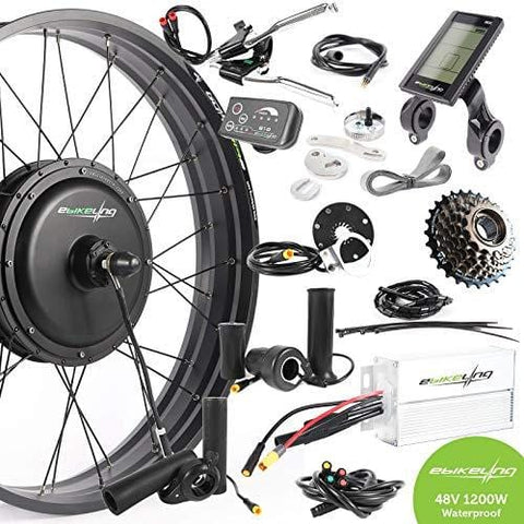"EBIKELING 48V 1200W 26"" Fat Direct Drive Front Rear Waterproof Electric Bicycle Conversion Kit (Rear/LCD/Twist)"
