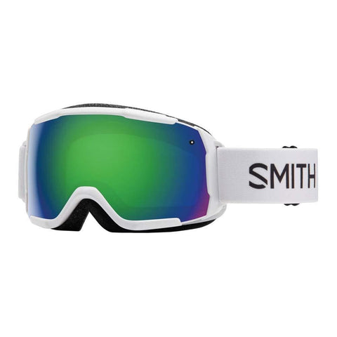 Smith Optics Grom Youth Snow Goggles - White/Green Sol-X Mirror