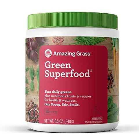 Amazing Grass Green Superfood Organic Powder with Wheat Grass and 7 Super Greens, Flavor: Berry, 30 Servings, 1 scoop = 2 servings of veggies