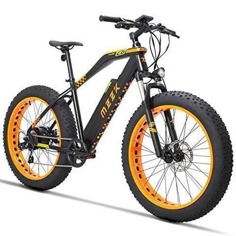MZZK Electric Mountain Bike with 500W Brush-Less Geared Motor, 48V 13Ah Li-on Battery and 26 Inch Fat Tires - Falcon (Orange)