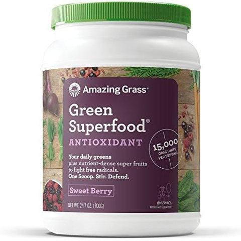 Amazing Grass Green Superfood Antioxidant Organic Powder with Elderberry, Wheatgrass, and 7 Super Greens, Flavor: Sweet Berry,  100 Servings