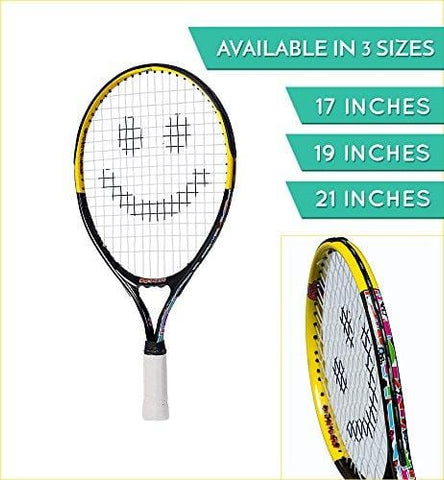 Street Tennis Club Tennis Rackets for Kids, 21-Inch, Black/Yellow