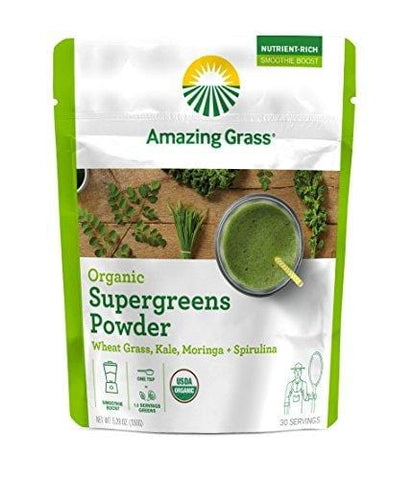 Amazing Grass Organic Super Greens Powder with Wheatgrass, Kale, Moringa, & Spirulina, Smoothie Booster with Vitamin K, 30 Servings
