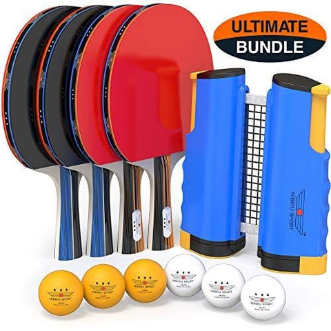 NIBIRU SPORT Professional Ping Pong Paddle Set with Retractable Net, Balls, and Posts (3-Star) Regulation Table Tennis Accessories, Advanced Home Indoor or Outdoor Play, Storage Case