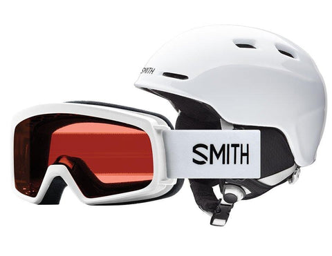 Smith Optics Youth Zoom Jr/Gambler Combo Ski Snowmobile Helmet - White/Youth Medium