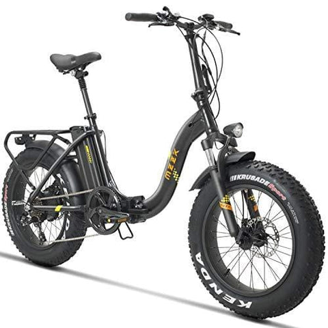 "MZZK 20"" Wide Fat Tire Electric Moped Electric Mountain Bicycles with Lithium Battery (48V 624W) Folding Electric Bike"