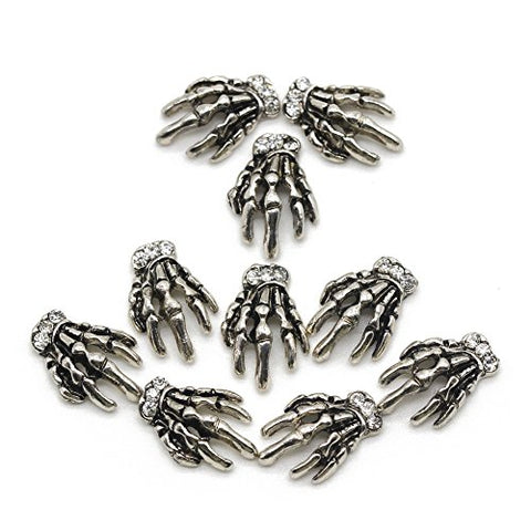 So Beauty Vintage Silver Skeleton Hand Nail Decorations for Nail Art Designs(10Pcs)