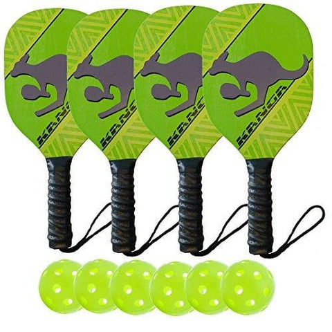 Kanga Beginner Pickleball Paddle Bundle | Set Includes 4 Pickleball Paddles/6 Pickleball Balls | Durable Wood Paddle Construction with Comfort Cushion Grip [product _type] PickleballCentral - Ultra Pickleball - The Pickleball Paddle MegaStore