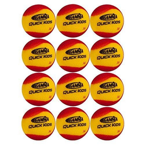 Gamma Sports Quick Kids 36 Foam Low Bounce Training and Practice Tennis Balls for Kids and Beginners, 75% Slower than Standard Tennis Balls (Designed for 36' Tennis Courts, 12 Pack, Yellow/Red)