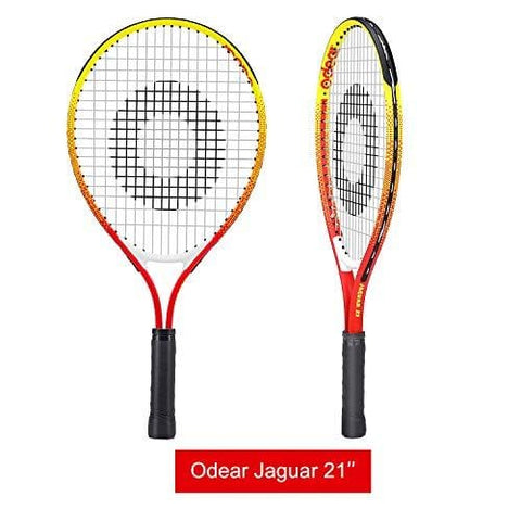 Odear Kids Junior Tennis Racket Strung with Cover (Red, 21)