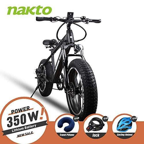 NAKTO 350W Electric Bicycle Mountain E-Bike Shimano 6 Speed Gear with Smart Multi Function LED Anti-Light Digital Dashboard,Removable and Waterproof Builtin 36V 10A Lithium Battery