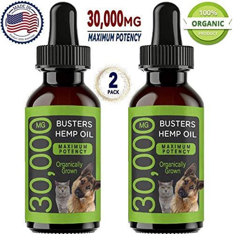 (30,000 MG 2-Pack) Buster's Organic Hemp Oil for Dogs & Cats, Max Potency - Grown & Made in USA - Omega Rich 3, 6 & 9 - Supports Hip & Joint Health, Natural Relief for Pain, Separation Anxiety
