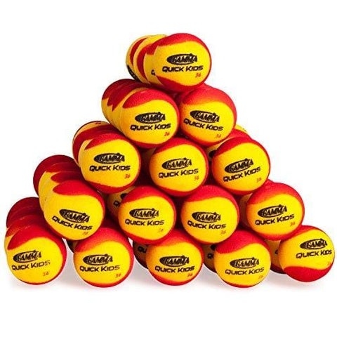Gamma Sports Quick Kids 36 Foam Low Bounce Training and Practice Tennis Balls for Kids and Beginners, 75% Slower than Standard Tennis Balls (Designed for 36' Tennis Courts, 60 Pack, Yellow/Red) [product _type] Gamma - Ultra Pickleball - The Pickleball Paddle MegaStore