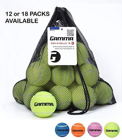 Gamma Bag of Pressureless Tennis Balls - Sturdy & Reuseable Mesh Bag with Drawstring for Easy Transport - Bag-O-Balls (18-Pack of Balls, Yellow)