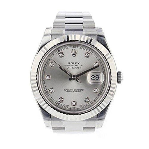 Rolex Datejust II 41mm Steel Silver Diamond Dial Men's Watch 116334